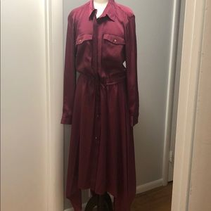 EUC Wine Ralph Lauren Shirt Dress Hi/Low hem